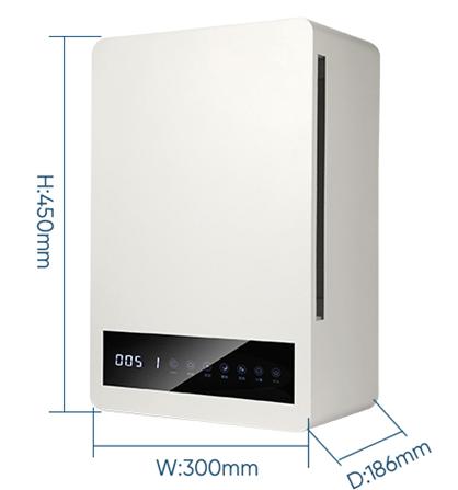 ขนาดเครื่องเติมอากาศติดผนัง (Fresh Air Ventilation:Wall Mount size)